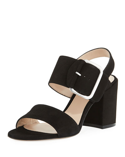 Suede Buckle City Sandal