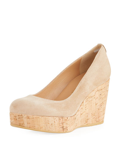 Dutchess Suede Cork-Wedge Pump
