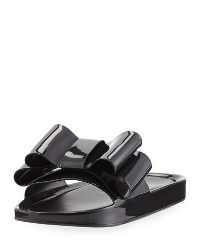 Beach Patent Bow Slide Sandal