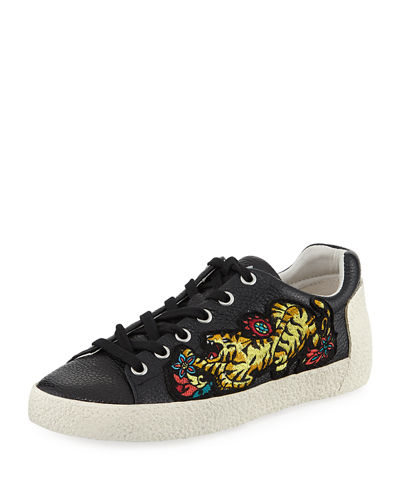 Niagra Leather Sneaker with Appliqué