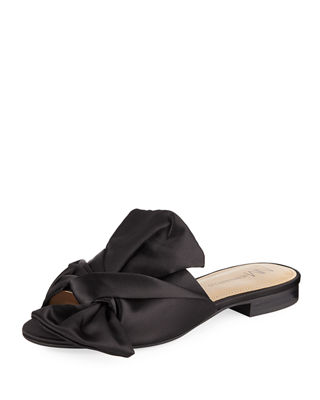 Nineya Satin Knotted Sandal, Black