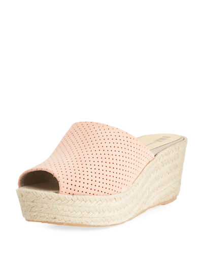 Tina Perforated Slide Wedge Espadrille