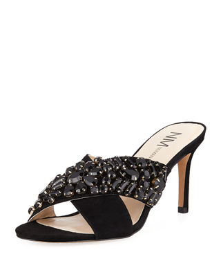 VIBE JEWELED SUEDE MULE