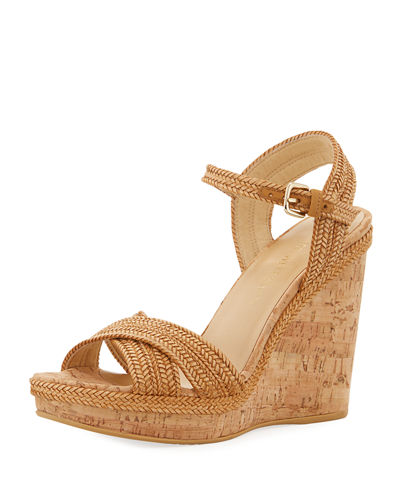 2fc59320cd Stuart Weitzman Minx Woven Cork Wedge Sandals