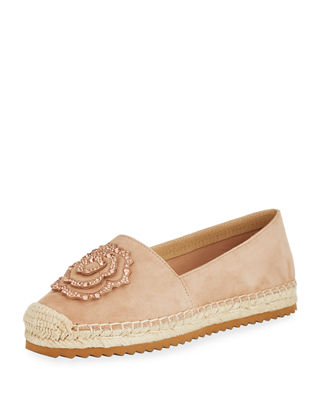 ABBY SUEDE ESPADRILLE SLIP-ON FLAT WITH FLOWER