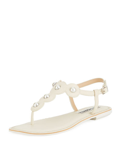 Karl Lagerfeld Paris Malo Flat Leather Thong Sandal