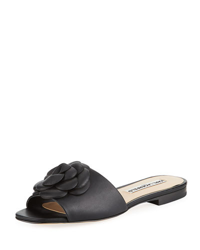 Roslyn Leather Slide Sandal with Flower