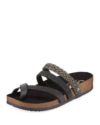 Oakley Metallic/Glitter Toe-Ring Leather Sandal