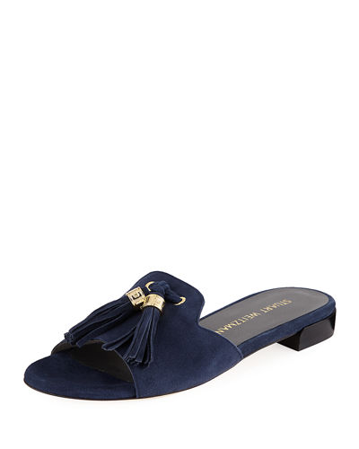 Suede Open-Toe Slide Sandal with Tassels