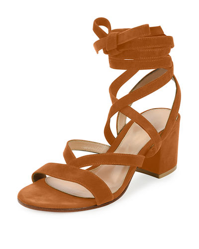 Janis Low Suede Lace-Up Sandals