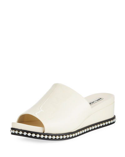 Ali Patent Wedge Mule Sandal with Pearly Detail