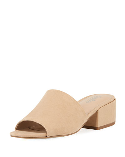 Videl Sueded Low-Heel Slide Sandal