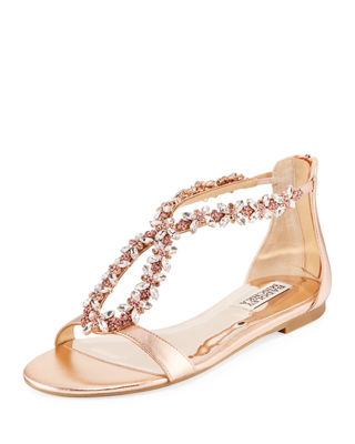 Haynes Jeweled Flat Metallic Leather Sandal by Badgley Mischka