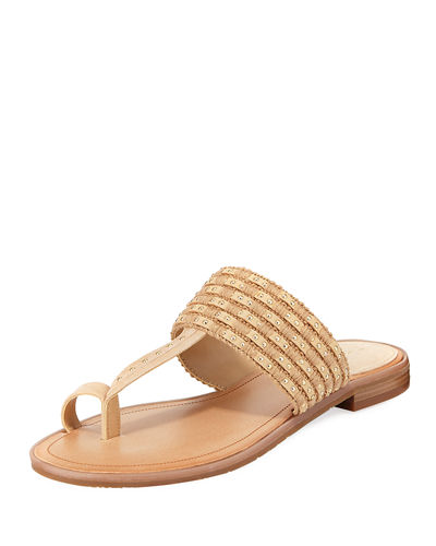 Studded Fabric Toe-Ring Sandal