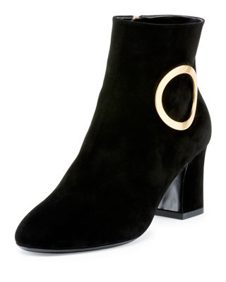 Roger Vivier Round Buckle Chunky Leather Boots