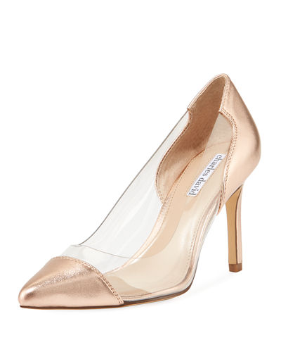 Genuine Clear Vinyl/Metallic Leather Pump