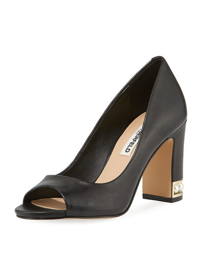 Karl Lagerfeld Paris Evie Open-Toe Jewel-Heel Leather Pump