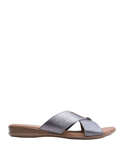 Leather Crisscross Flat Slide Sandals