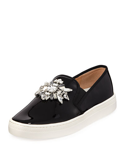 Barre Jeweled Patent Slip-On Sneakers