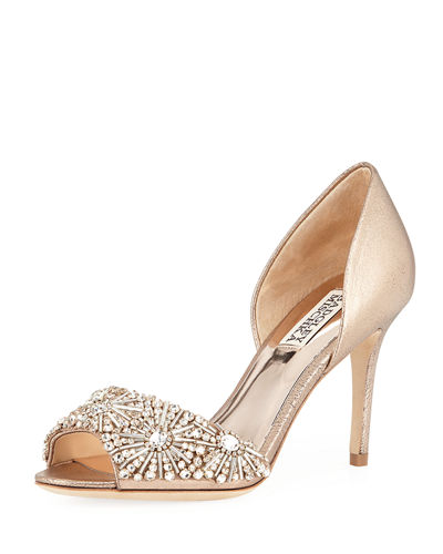 Maria Embellished Peep-Toe Pump