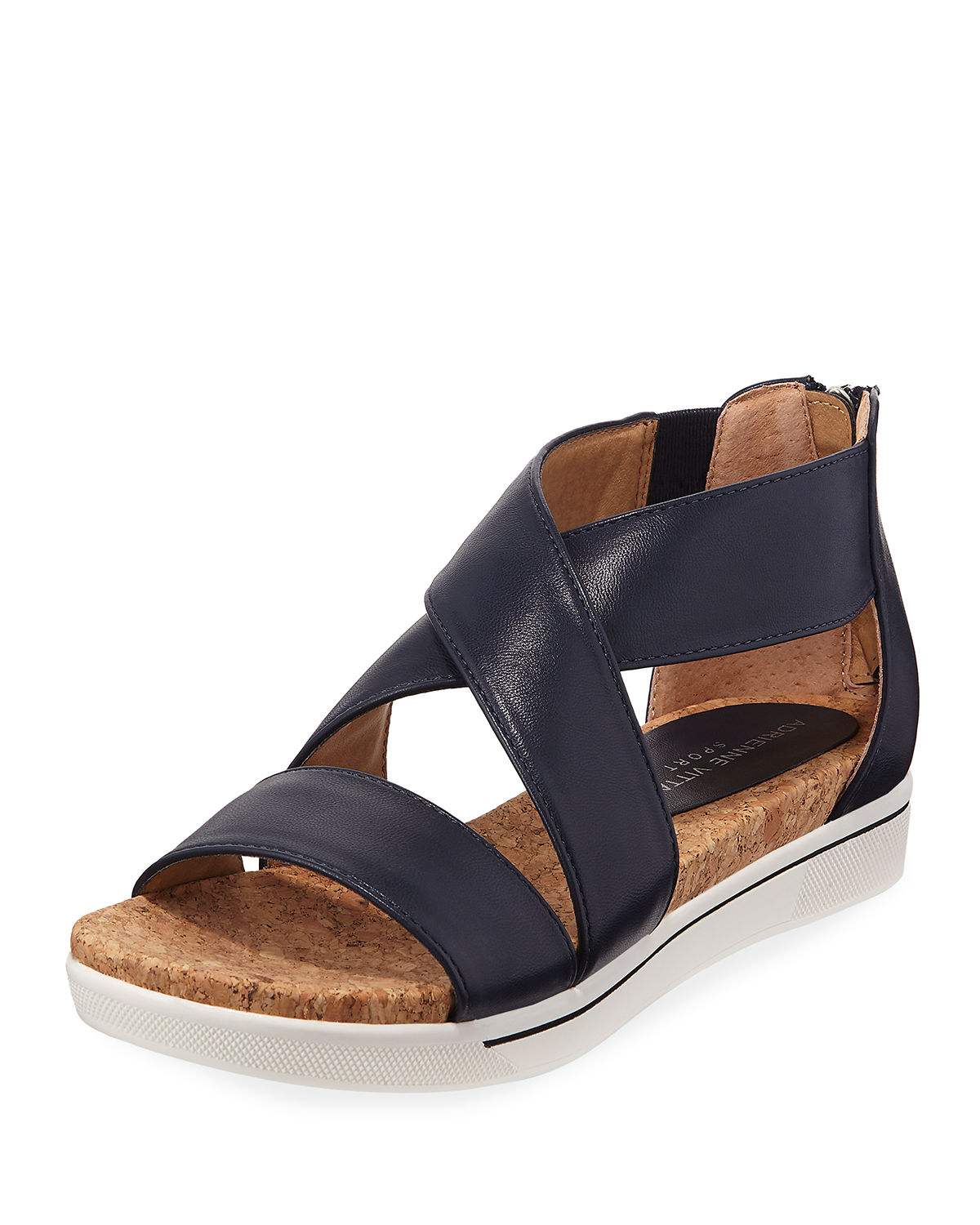 Adrienne Vittadini Claud Sport Leather Crisscross Sandals, NAVY