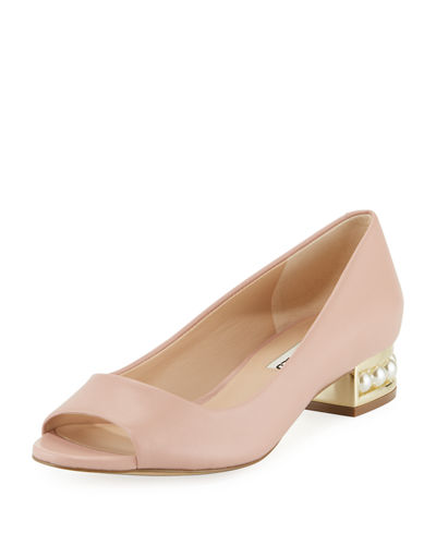Tracy Low Peep-Toe Pump with Pearly Heel Detail