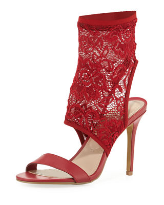 CHARLES BY CHARLES DAVID Remote Stretch-Knit Sandal Bootie in Scarlet