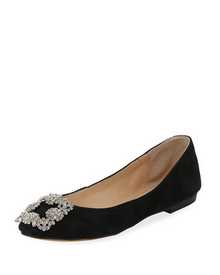 Maxim Buckle-Toe Suede Ballet Flats in Black