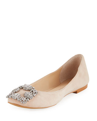 Maxim Buckle-Toe Suede Ballet Flats in Blush