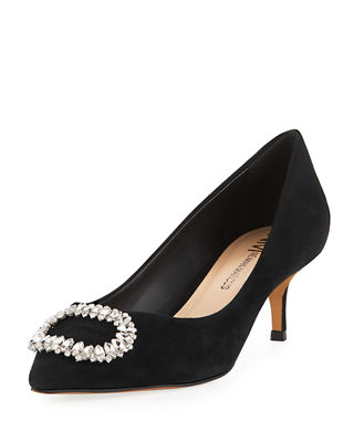 Rise Buckle-Toe Suede Pump in Black