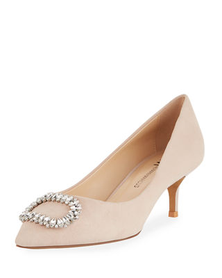 Rise Buckle-Toe Suede Pump in Blush