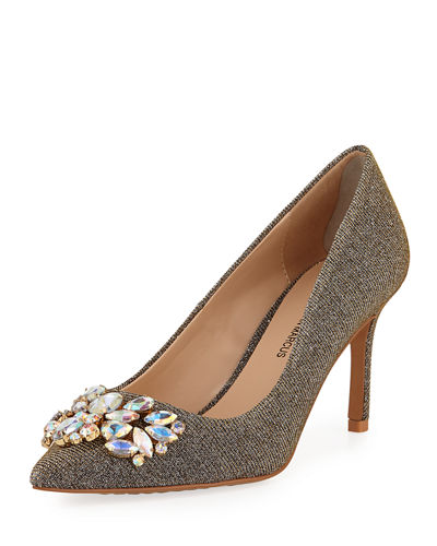 Ruby Point-Toe Embellished Pumps, Black Metallic
