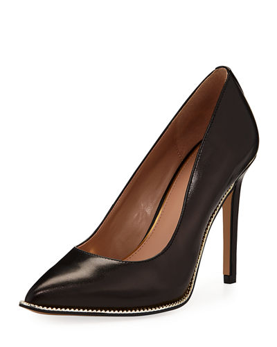 BCBGeneration Harleigh Chain-Trim Faux-Kidskin Pumps