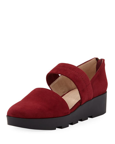 Eileen Fisher Marlow Suede Wedge Mary Jane Pumps
