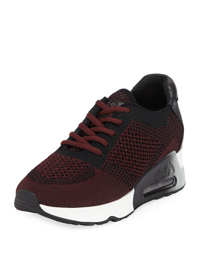 Lucky Leather-Trim Knit Sneakers