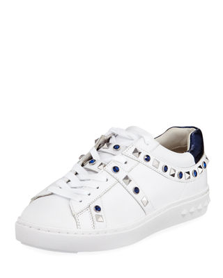 ASH Play Studded Leather Low-Top Sneakers in White