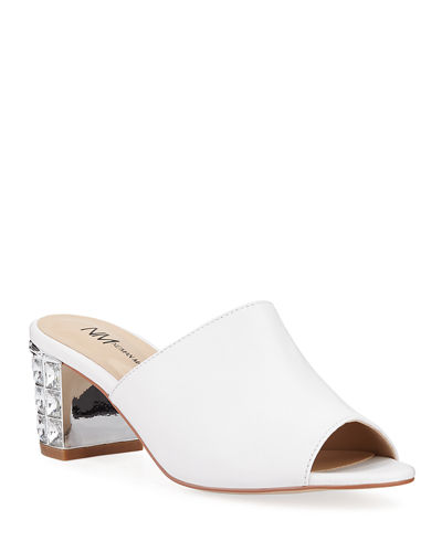 Carly Jewel-Heel Mule Sandals