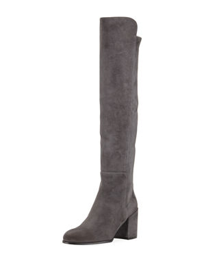 Alljack Suede Block-Heel Knee Boot, Medium Gray