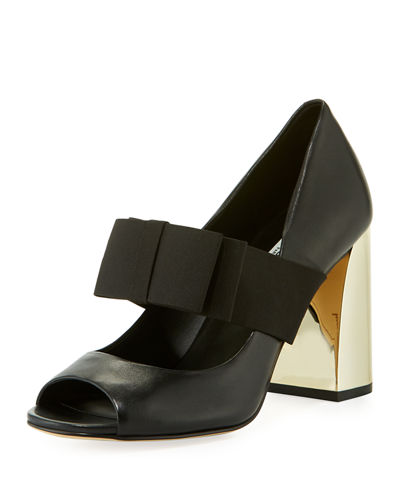 Karl Lagerfeld Paris Everett Peep-Toe Pumps w/ Grosgrain