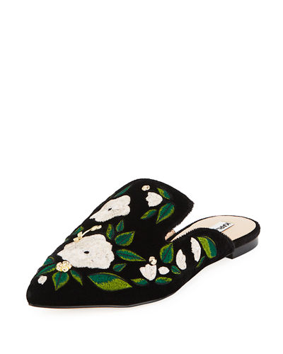 Niana Floral-Embroidered Mule