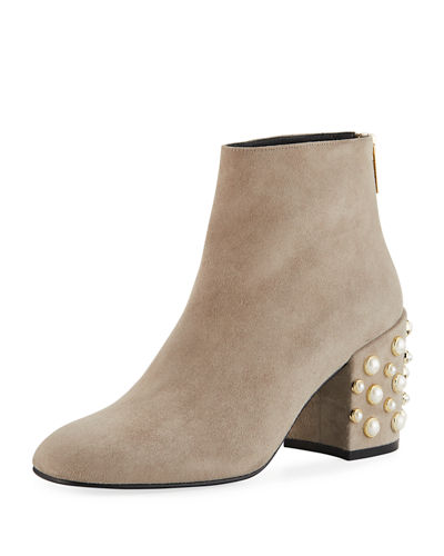 In Pearls Pearlescent-Heel Suede Ankle Bootie