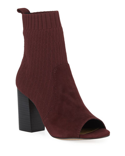 Nuru Open-Toe Suede and Stretch-Knit Sock Booties