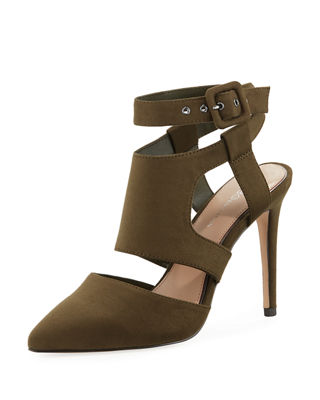 BCBG Heather Pointy Toe Ankle Strap Pump in Olive