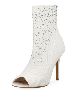 CHARLES BY CHARLES DAVID Rancid Studded Knit Booties in White