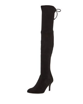 Tiemodel Suede Over-The-Knee Boots, Black