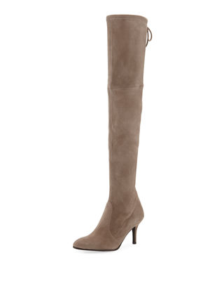 Tiemodel Suede Over-The-Knee Boots in Taupe