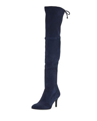 Tiemodel Suede Over-The-Knee Boots in Blue