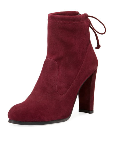 Catch Suede Booties with Ankle Tie