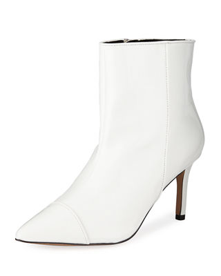 BCBG Miriam Patent Faux-Leather Boots in White