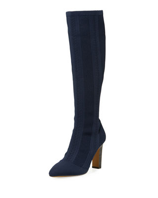 Davis Stretch Over-The-Knee Boots, Deep Navy Fabric